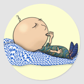 Sleeping Baby Classic Round Sticker