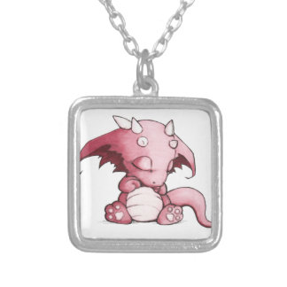 sleeping baby dragon silver plated necklace