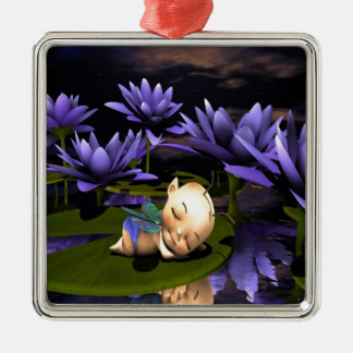 Sleeping Baby Fairy Metal Ornament
