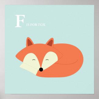 Sleeping Baby Fox Poster