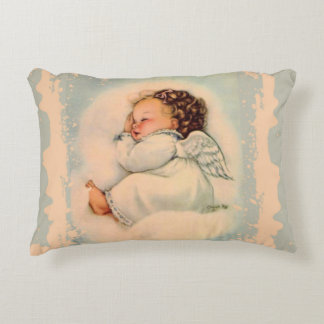 Sleeping Baby Girl Angel Decorative Pillow