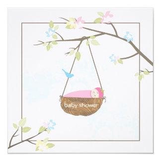 "Sleeping Baby Girl Baby Shower Invitation 5.25"" Square Invitation Card"