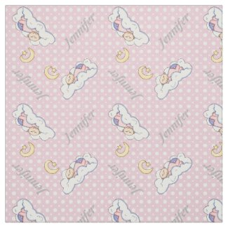 Sleeping baby girl, name & pink polka dot nursery