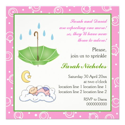 Sleeping baby girl sprinkle pink green invitation