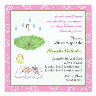 Sleeping baby girl sprinkle pink green invitation
