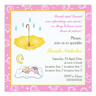 Sleeping baby girl sprinkle pink yellow invitation