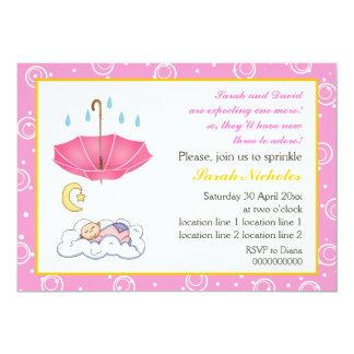 Sleeping baby girl sprinkle pink yellow invitation custom invites