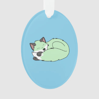 Sleeping Baby Green Fox Kit with Dark Markings Ornament