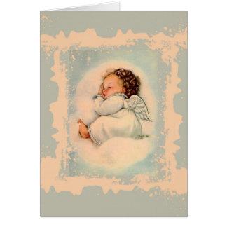 Sleeping Baby Guardian Angel Blue Peach Card