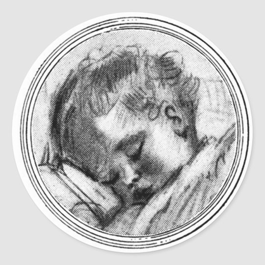 Black And White Baby Sleeping: Sleeping Baby In Black & White - Sticker