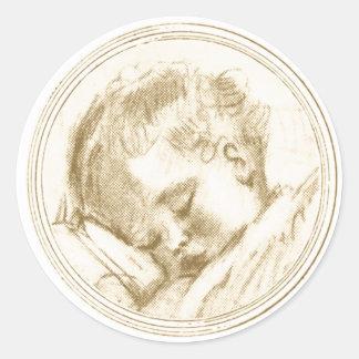 Sleeping Baby in Sepia - Sticker