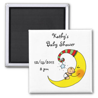 Sleeping baby on the moon baby shower favor 2 inch square magnet