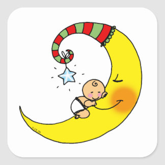 Sleeping baby on the moon baby shower stickers
