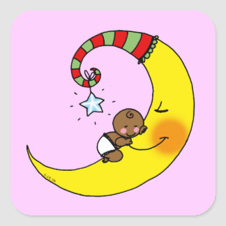 Sleeping baby on the moon baby shower square stickers