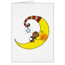 Sleeping baby on the moon card