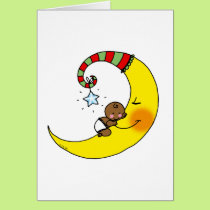 Sleeping baby on the moon card
