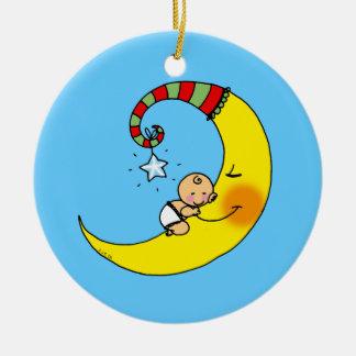 Sleeping baby on the moon ceramic ornament