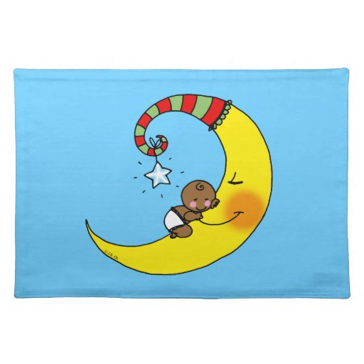 sleeping baby on the moon placemat