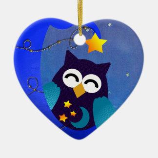 Sleeping Baby Owl Ceramic Ornament