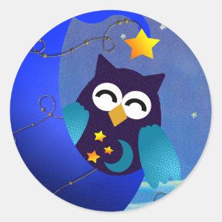 Sleeping Baby Owl Classic Round Sticker