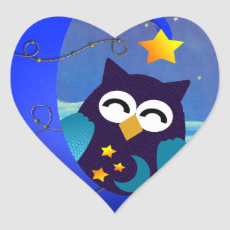 Sleeping Baby Owl Heart Sticker