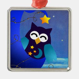 Sleeping Baby Owl Metal Ornament