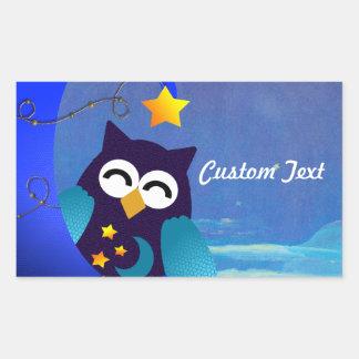 Sleeping Baby Owl Rectangular Sticker