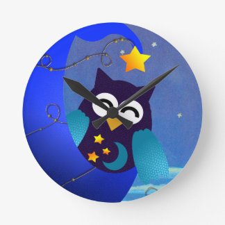 Sleeping Baby Owl Round Clock