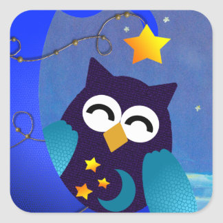 Sleeping Baby Owl Square Sticker