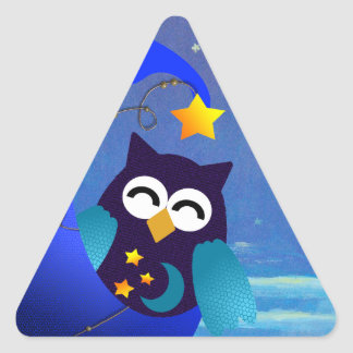 Sleeping Baby Owl Triangle Sticker