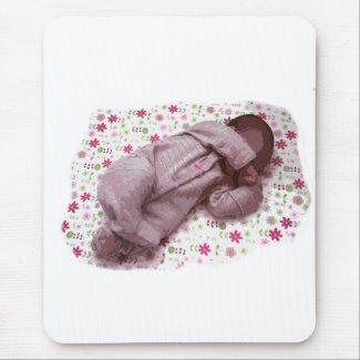 Sleeping Baby Pink design image mousepad