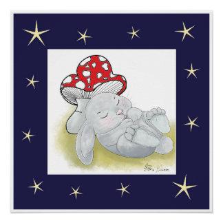 Sleeping Baby Rabbit Poster