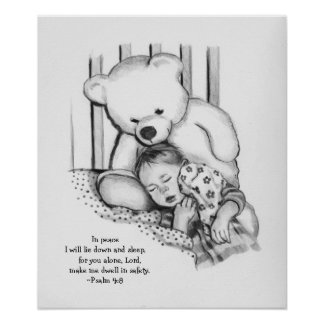 Sleeping Baby, Watchful Teddy Bear: Bible Verse Poster