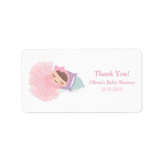 Sleeping Ballerina Tutu Baby Girl Shower Labels