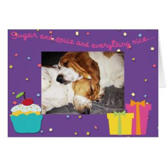 Sleeping Bassets on cute Birthday Card