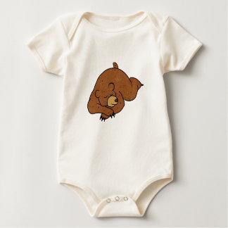 sleeping bear cartoon baby bodysuit