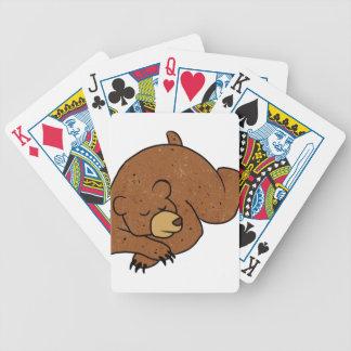 sleeping bear cartoon bicycle playing cards