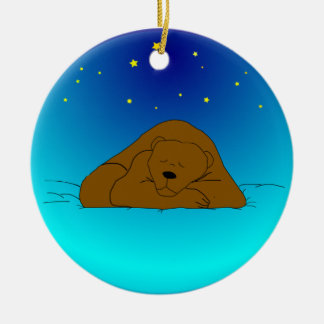 Sleeping Bear Under Stars Christmas Ornament