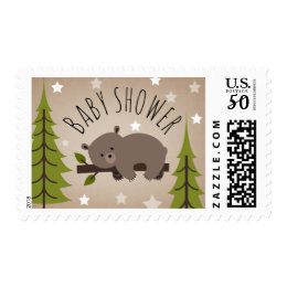 Sleeping Bear Woodland Stars Baby Shower Postage