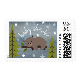 Sleeping Bear Woodland Stars WatercolorBaby Shower Postage