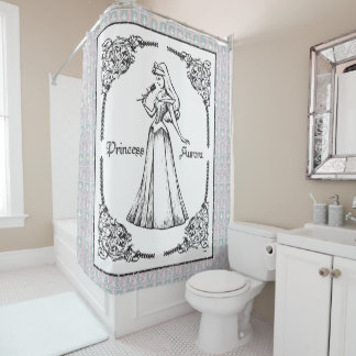 Sleeping Beauty   Aurora   Vintage Rose Shower Curtain