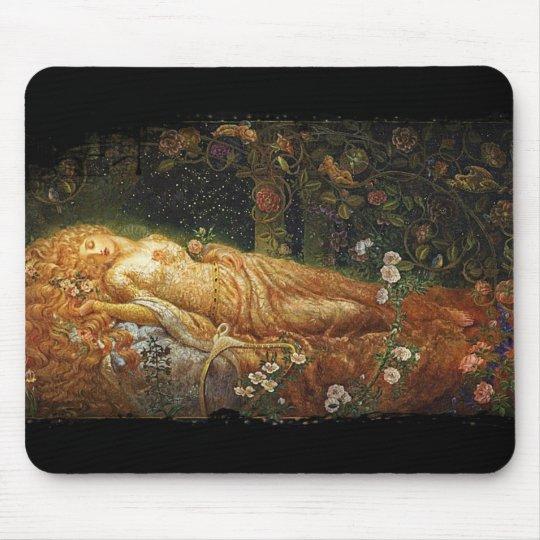 Sleeping Beauty Beside a Harp Mouse Pad