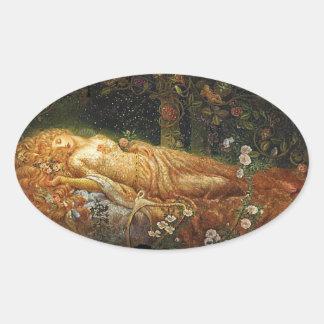 Sleeping Beauty Beside a Harp Stickers