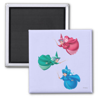 Sleeping Beauty Fairies 2 Inch Square Magnet
