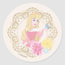 Sleeping Beauty   Floral Gold Confetti Classic Round Sticker