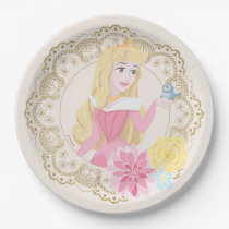Sleeping Beauty   Floral Gold Confetti Paper Plate