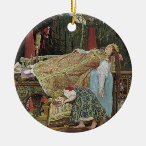Sleeping Beauty in the Pavilion Double-Sided Ceramic Round Christmas Ornament