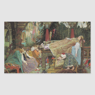Sleeping Beauty in the Pavilion Rectangular Sticker