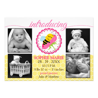 Sleeping Bee Baby Girl Photo Birth Announcement