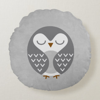 Sleeping Bird Grey Round Pillow